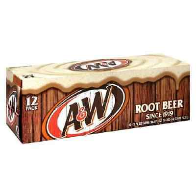 Original Pack of 12 A&W Root Beer Cans Flavor American Soft Fizzy Drink Soda