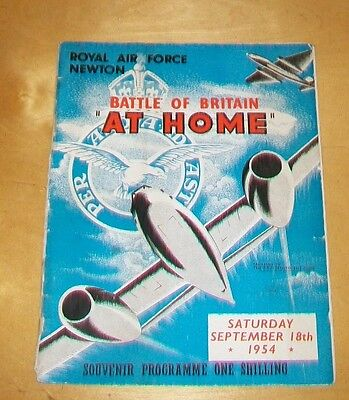 ROYAL AIR FORCE NEWTON BATTLE OF BRITAIN AT HOME PROGRAMME 18th SEPT 1954 RAF