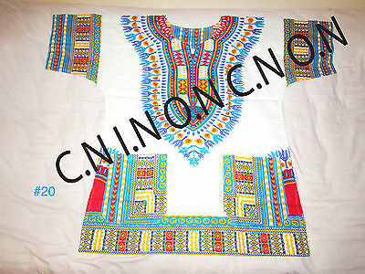 DASHIKI SHIRTS VINTAGE retro HIPPIE BOHO GYPSY ART FESTIVAL AFRICAN - DIFF Sizes
