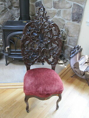 Antique Victorian Rococo Revival Carved Walnut Belter Style Tall Back Side Chair