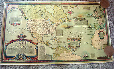 Charles Lindbergh Poster Map Flight Routes Overland & Overseas First Flights