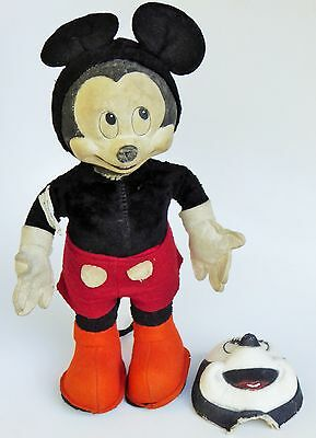 40's Mickey Mouse Rare Gund Mfg. Co. Plush Doll With Interchange-Able Face 14""
