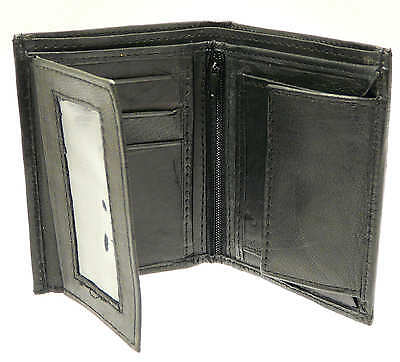 Soft Black Mens Leather Wallet & Credit Card Holder With Coin Storage