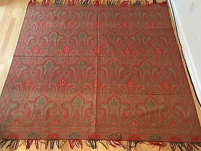 Antique Paisley Large Shawl Fringed Cloth Fabric OUTSTANDING CONDITION