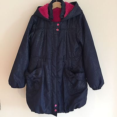 7 years, Thick, warm girls lined Coat Navy with silver metallic spots, pink fur