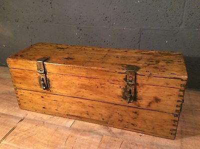 antique vintage pine storage box chest trunk