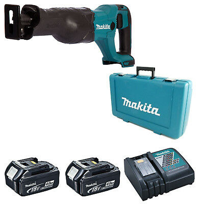 Makita Djr186 Reciprocating Saw 2 Bl1840 Batteries Dc18Rc Charger & Case