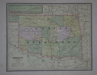 1889 Indian Territory Antique Color Atlas Map**w/ Area & Population 127 yrs-old!