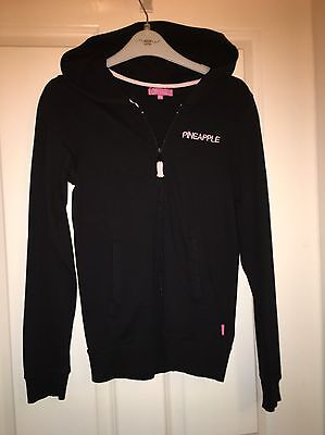 Great Cond Pineapple Girls Black Hooded Top Age 15-16 Years