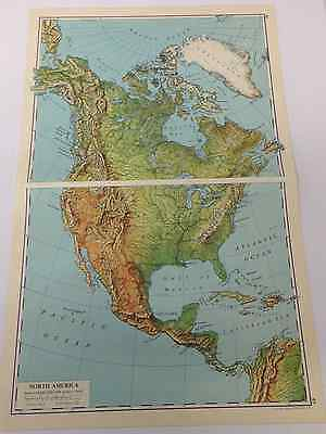 North America Old Original Print 1963 Mountains Hills Plains Cities Plateau