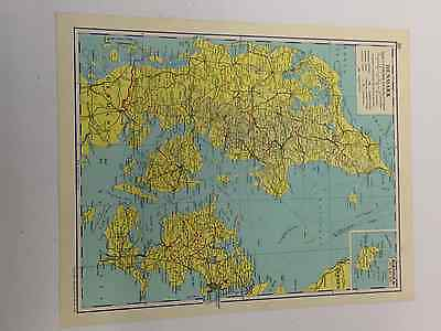 Denmark Map Old Vintage Original Print 1963 Shipping Routes Railways Roads Canal