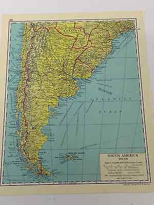South America Old Vintage Map 1963 Railways Canals Shipping Routes South Area
