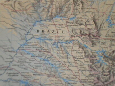Large Map South East Brazil Old Print 1997 Christmas Gift Father Dad