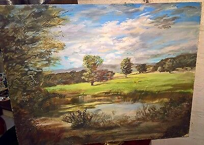 Lovely Vintage Landscape Acrylic/oil On Board Has Initials But Can't Decipher