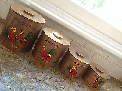 Vintage/retro Painted Wood French/country Kitchen Canisters Gc