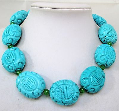 Impressive very large Chinese carved turquoise bead necklace