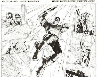 Captain America #2 DPS - Captain America & Nick Fury Action 2011 by Jay Leisten