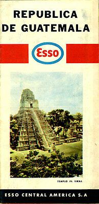 1973 Guatemala Road Map from Esso Central America S.A.