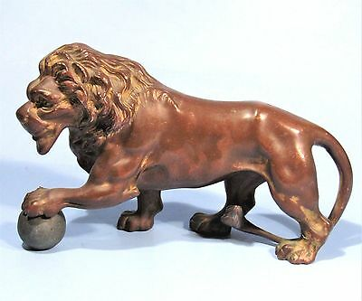 ANTIQUE BRONZED MEDICI LION w/ SPHERE ART METAL STATUE SPELTER CLOCK TOPPER