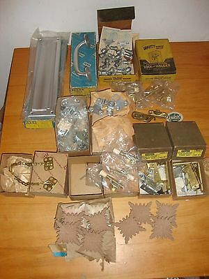 Large Lot Of Vintage NOS Architectural Hardware Parts Window Locks Transom Chain