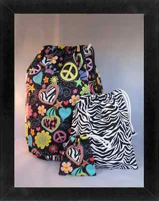 Gymnastics Leotard Grip Bags / Zebra Hearts Bag SET Gymnast Birthday Goody Bag