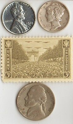 -3-silver *WWII *us  and - *german SILVER  EAGLE coin/STAMPS  +...