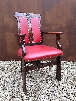 Antique Arts and Craft Red Leather and Oak Chairs x 6