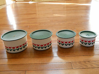 Vintage Tupperware Nesting Short Canisters Tulip design ABCD Set of 4 Clean, GUC