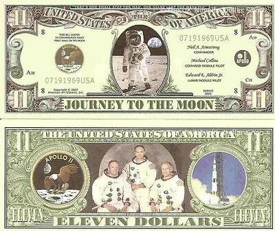 Space Shuttle Apollo 11 Columbia Challenger Dollar Bills x 6