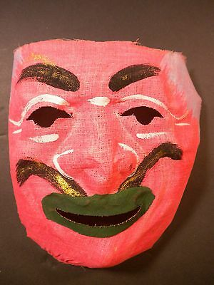 Vintage Halloween Mask $12.00 Mid Century Hand Painted Gauze, Good Unused Cond.