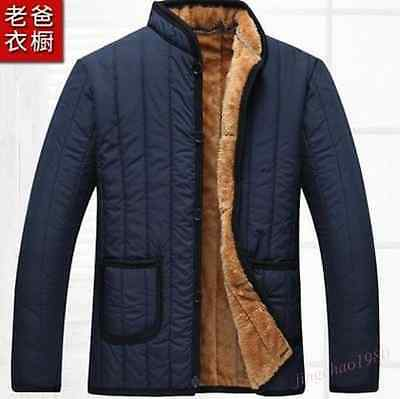 Winter Coat Men's Fur Lining Stand Collar Warm Thick Outwear Jacket Coat D562
