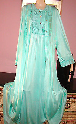 Vtg Lacy Teal Soft Green Nylon Nightgown & Peignoir Robe Set Size M Bust 40
