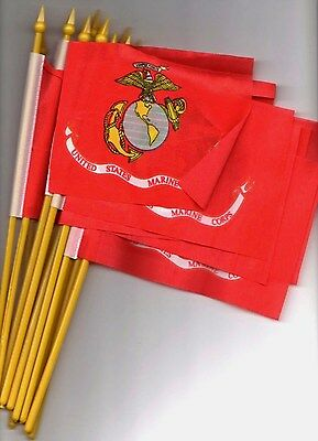 "12 SMALL 4""X6""inch.US.MARINE CORPS FLAGS ON POLES"