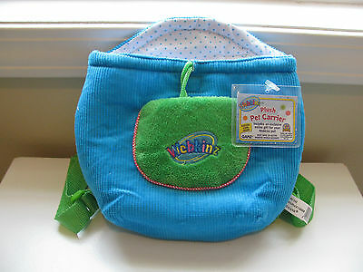Webkinz PLUSH PET CARRIER~Turquoise Knapsack~NEW W/UNUSED Feature Code~FREE SHIP