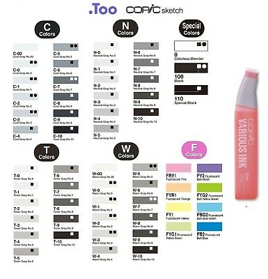 "Copic Various Ink ""C,N,T,W,F,Black,white Color""Refill for Sketch&Ciao"