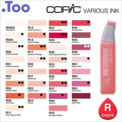 """Copic Various Ink """"R(Red) Color Series""""Refill for Too Sketch and Ciao"""