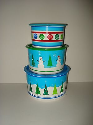 Tupperware Set 3 Holiday Christmas Cookie Canisters Round Containers One Touch