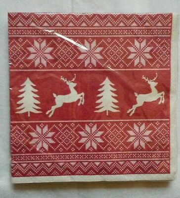 20 ct 2 ply Paper Party Lunch Napkins ~ Winter Holiday Red Christmas Sweater