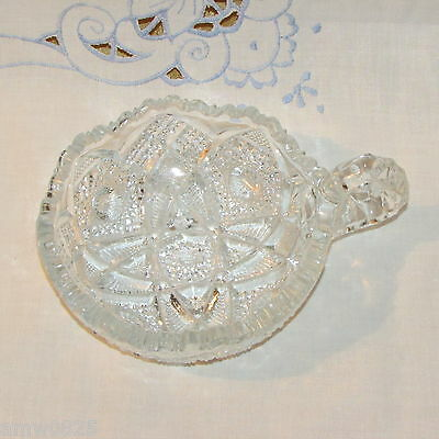 Nucut Snack Bowl With Handle Imperial Glass Candy Dish Hobstar & Diamonds Antiqu