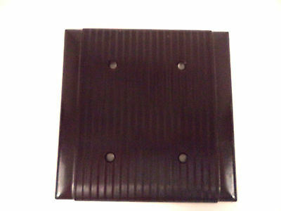 Uniline bakelite brown ribbed mcm blank double switch plate cover vintage