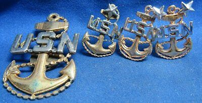 Korean War Sterling Navy Chief Hat Badge and Collar Insignia Lot Of 4