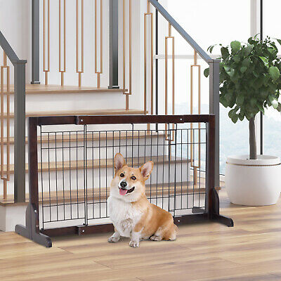 Free Standing Adjustable Pet Gate Fence Dog Secure Indoor Wood Construction Dog