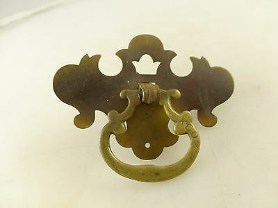 Vintage Brass Tone Metal Drawer Pull with Back Plate Crown Architectural Salvage