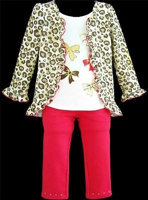 "Girls ""RED & BROWN LEOPARD BOWS"" Two-fer Top Pants, SIZE 6 (to fit 5-6)"