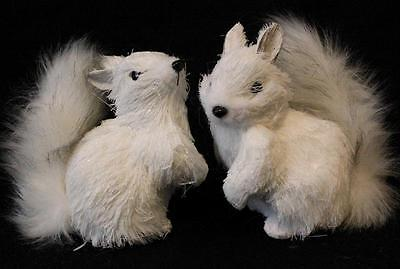 Squirrel Figurine Statue Lot of 2 Christmas Snow White Squirrels Raz Imports