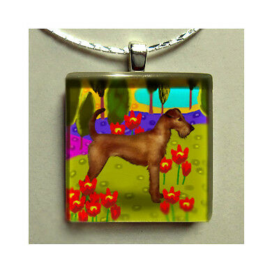 Irish Terrier Dog Necklace Jewelry Charm Pet Art Gift Glass Tile Pendant & Chain