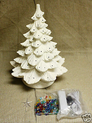 Ceramic Bisque 19 inch Christmas Tree Nowell 342 Ring Light Kit Ready To Paint