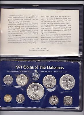 1971 COINS OF THE BAHAMAS Uncirculated UNC Specimen Set inc Silver coins G-728