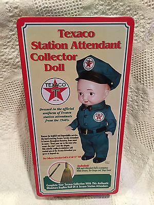 Texaco Station Attendant Collector Doll In Original Tin Perfect Condition