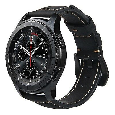 BLACK STITCHED LEATHER Wristband Band Strap Bracelet For SAMSUNG GEAR S3